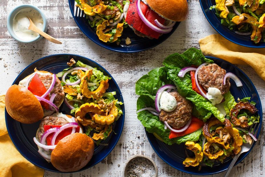 Lettuce-wrapped turkey sliders with basil mayo and squash salad