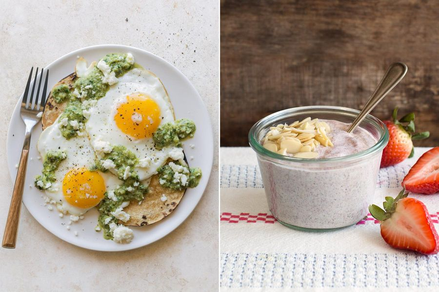 Fried eggs with green romesco & Overnight strawberry-chia pudding