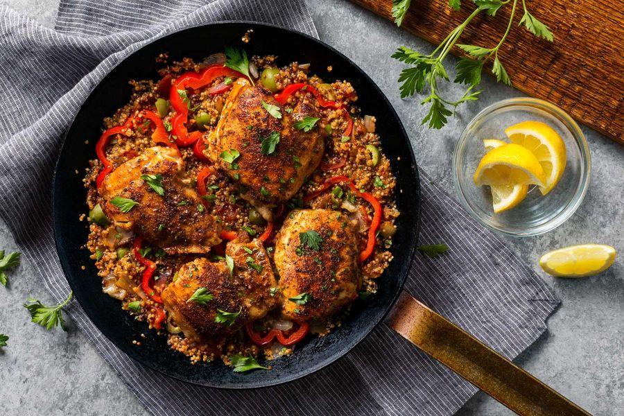 Spanish-style chicken and quinoa with fire-roasted tomatoes