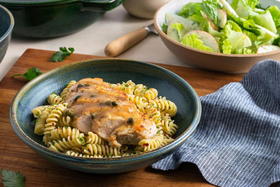 Chicken piccata with chicory-apple salad and gluten-free fusilli