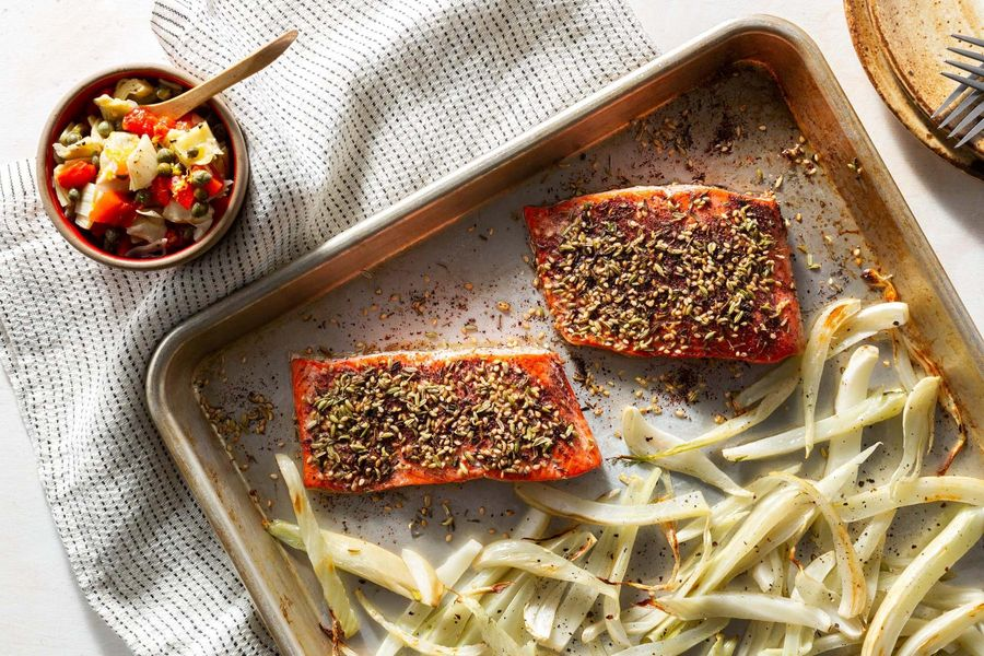 Za'atar-crusted roasted salmon and fennel with artichoke salsa