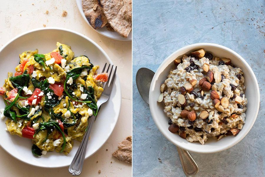 Spinach-feta scramble & Cinnamon-maple overnight oats with currants