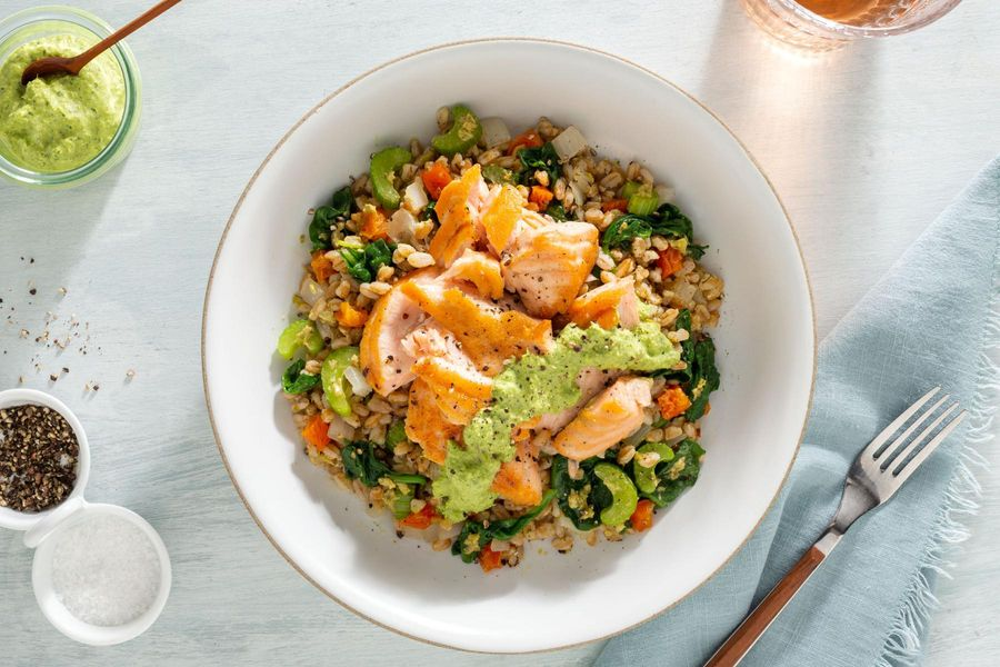 Salmon farro bowls with spinach and green goddess dressing