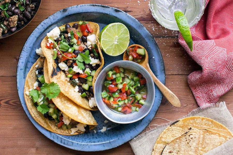 Turkey tacos with roasted-red-pepper salsa