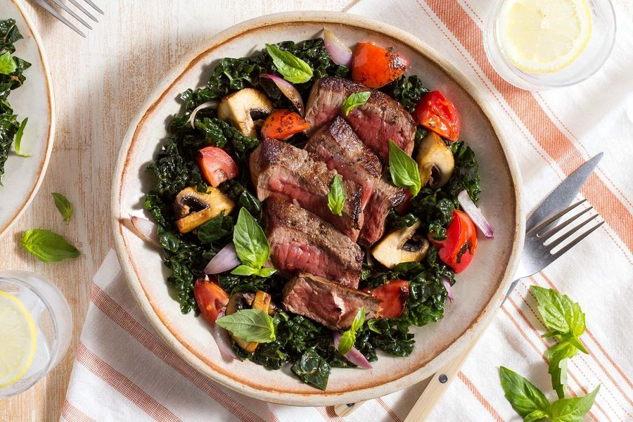 Garlic-rubbed steak and kale salad