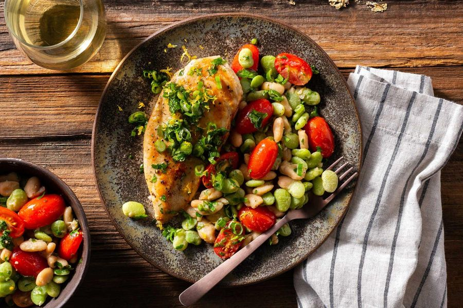 Chicken breasts with salsa verde and succotash