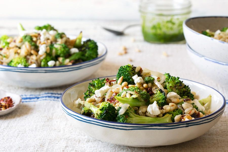Gluten-free orzo bowls with broccoli, sun-dried tomatoes, and pistou