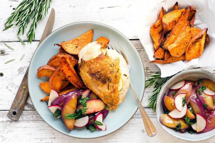 Rosemary-roasted chicken with warm nectarine salad and sweet potatoes