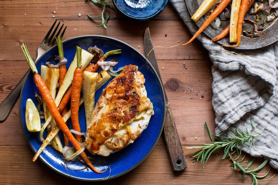 Chicken breast with honey-roasted parsnips and carrots