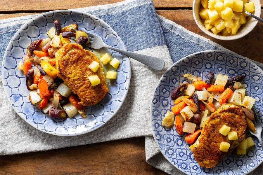 Curried pork with roasted root vegetables and apple-ginger mostarda