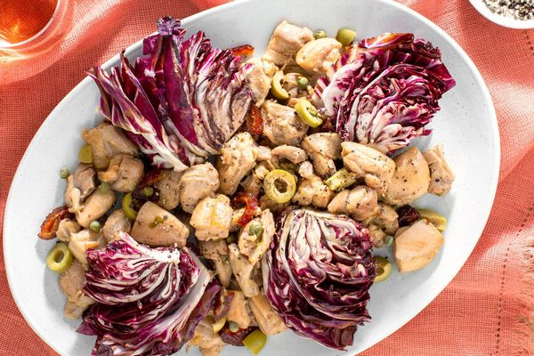 Chicken Marbella with olives, dates, and chicory