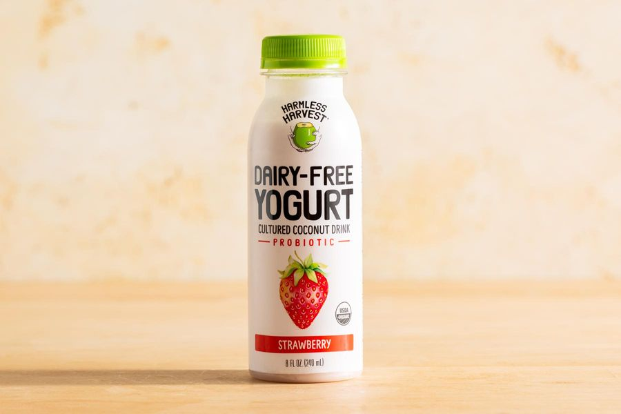 Organic dairy-free strawberry cultured coconut yogurt drink