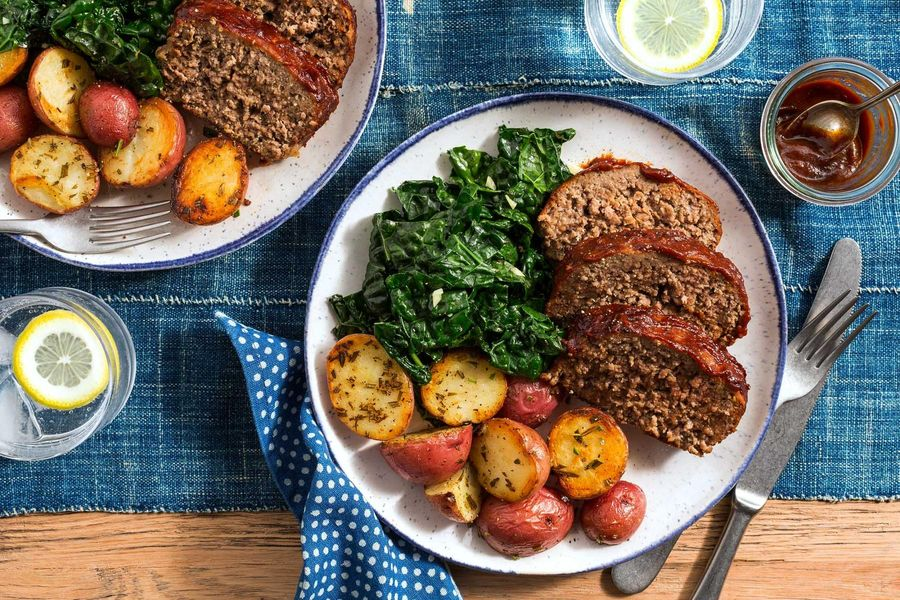 BBQ meatloaf with garlicky greens and rosemary-roasted potatoes