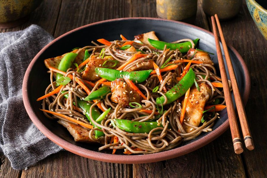 Stir-fried pork with snap peas and soba noodles