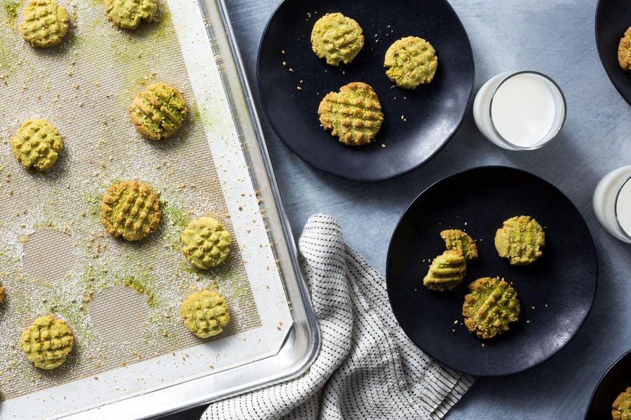 Moroccan Ghriba Almond-Matcha Cookies Recipe