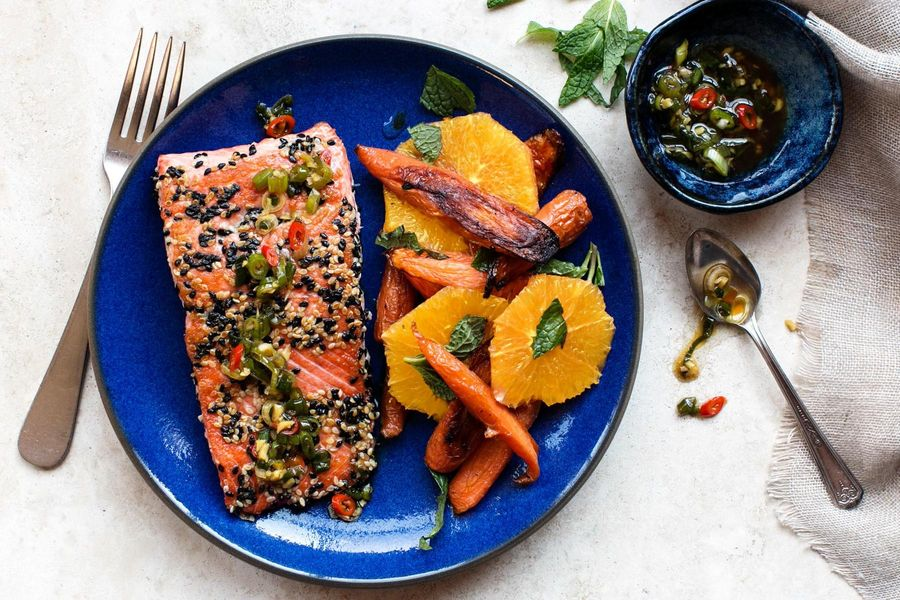 Sesame-Crusted Salmon with Orange and Roasted Carrot Salad image