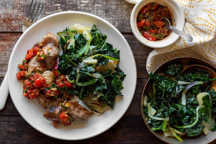 Italian sausages with kale and red-pepper chutney
