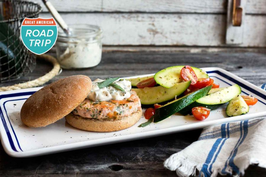 Pacific-Northwest salmon burgers with tarragon-caper mayo