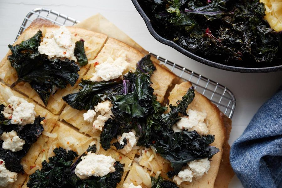 "Paleo pizza with kale and cashew ""cheese"""