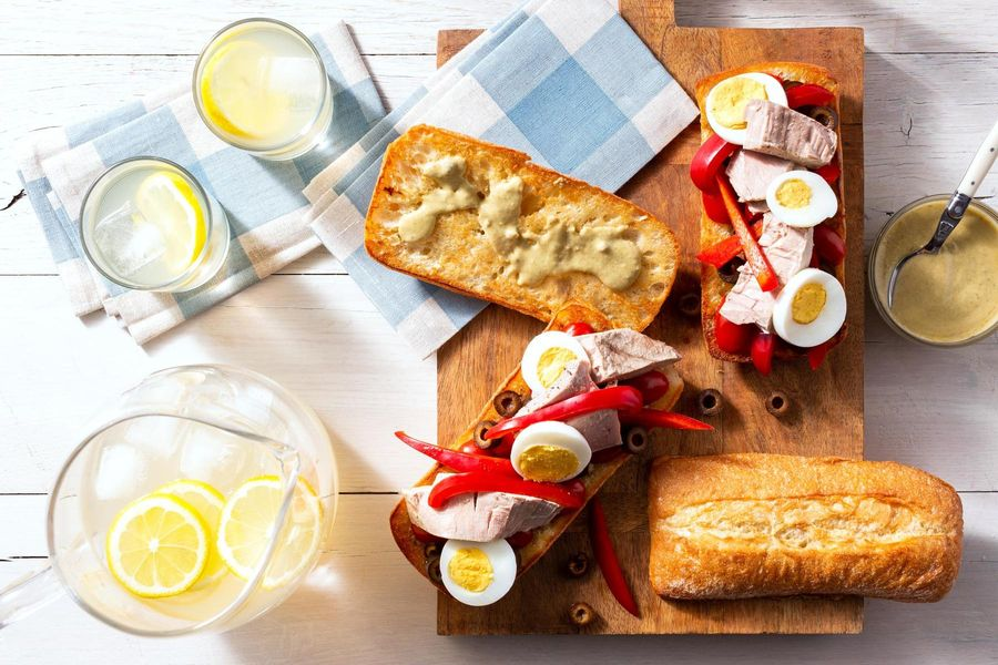 Pan bagnat with albacore tuna steaks and hard-cooked egg