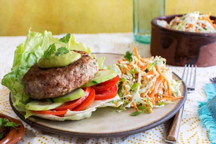 Mojo turkey burgers with cabbage slaw