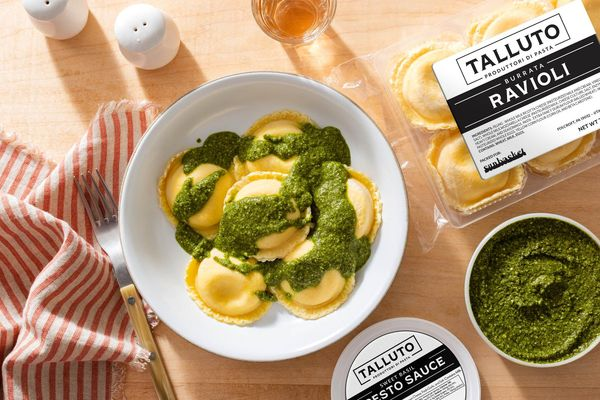 Burrata Ravioli with Fresh Pesto