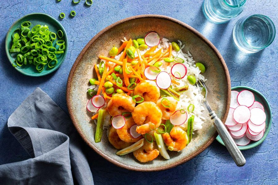 Southeast Asian shrimp and rice bowls with edamame slaw