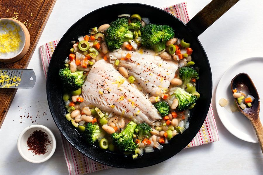 Quick-poached cod with broccoli, white beans, and olives