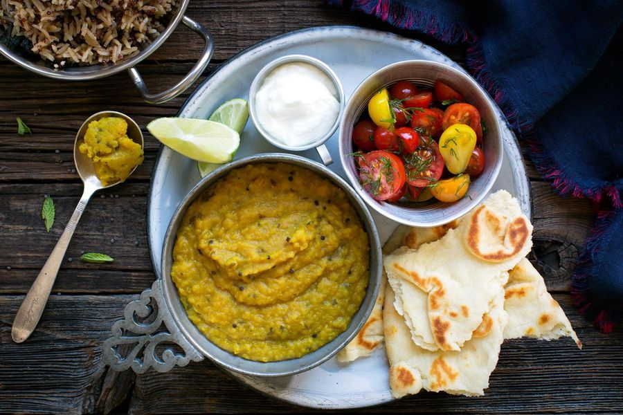 Red lentil dal with baharat rice, yogurt, and naan