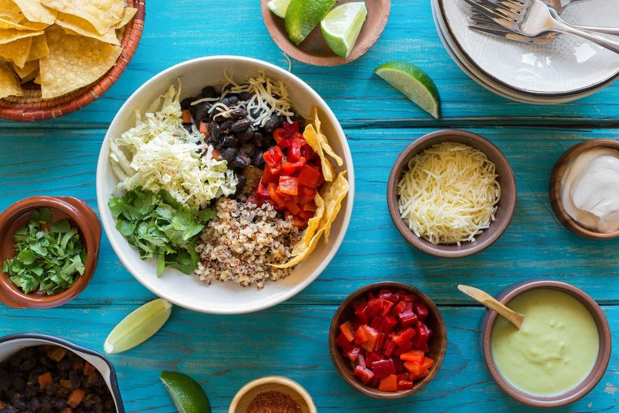 Black bean burrito bowls with avocado crema