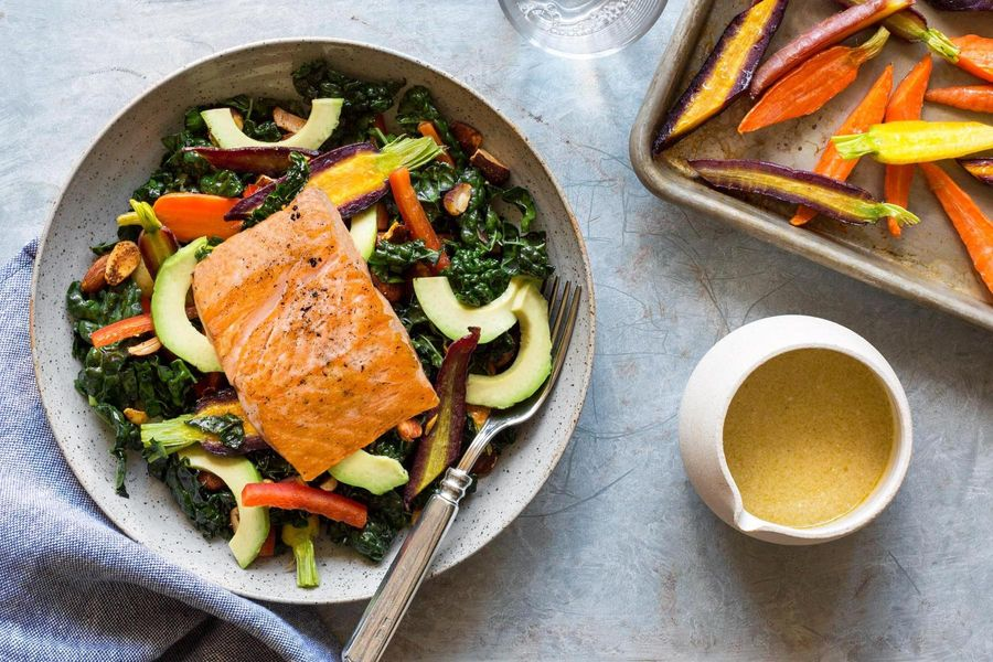 Salmon-kale salad with avocado and Moroccan-spiced almonds
