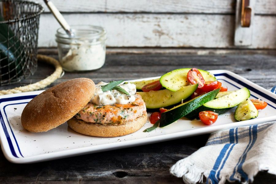 Easy salmon burgers with seared summer squash and tomatoes
