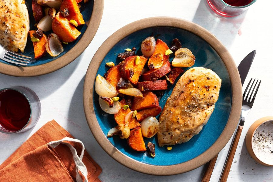 Sheet pan chicken and sweet potato with dates and pistachios