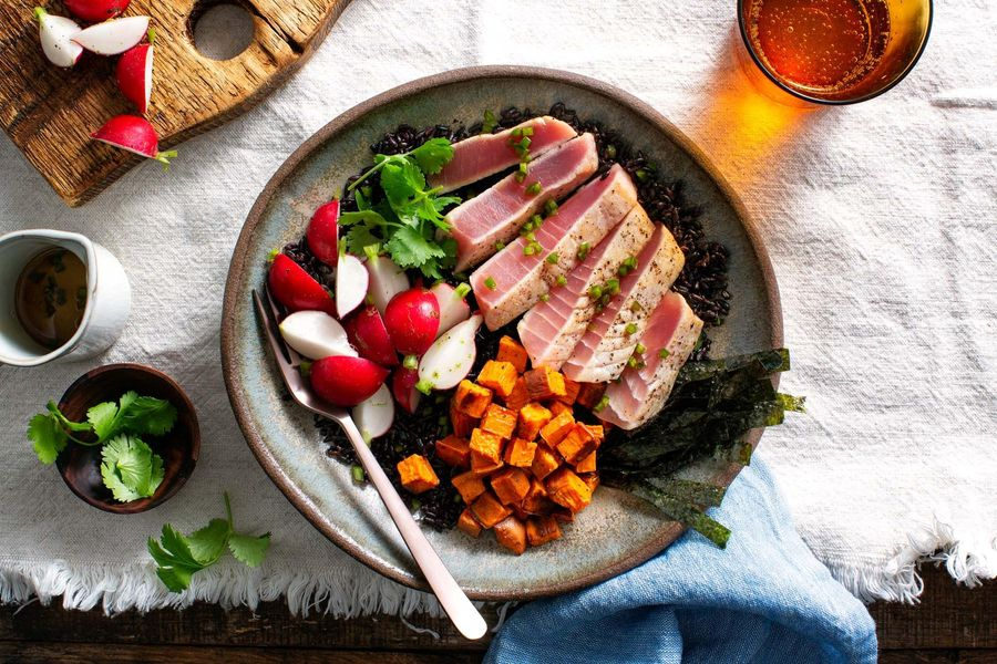 Seared Tuna and Black Rice Bowls with Roasted Sweet Potato and Nori image