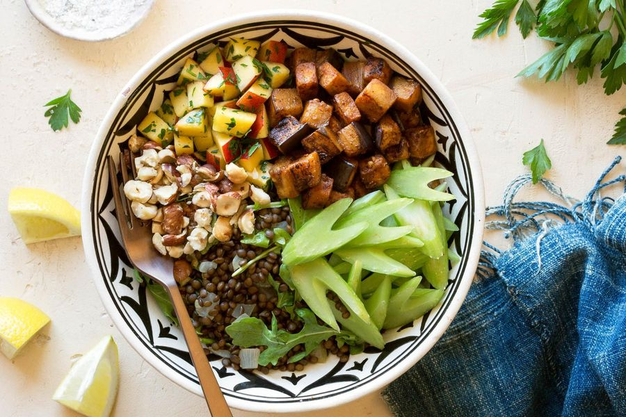 Black lentil and eggplant bowls with plum relish