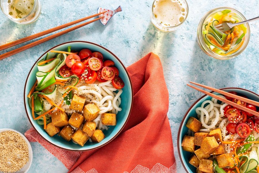 Udon noodle salad with gingered tofu and pickled vegetables