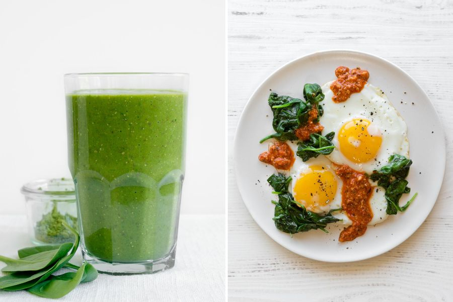 Two breakfasts: Mango-matcha smoothie & Fried eggs with spinach and romesco