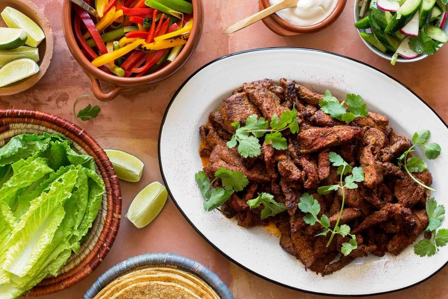 Steak fajitas with cucumber-radish salsa