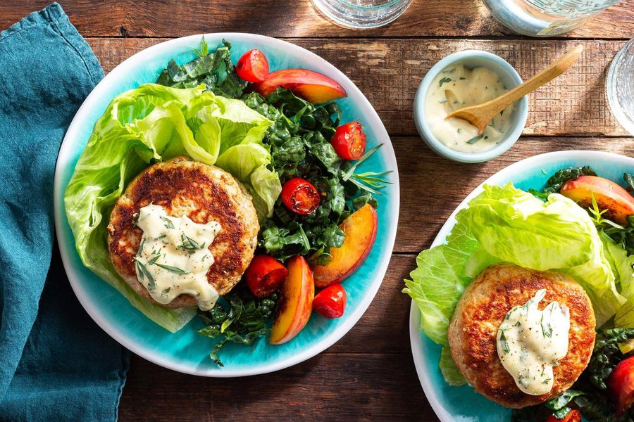 Lettuce-wrapped turkey burgers with tarragon mayo