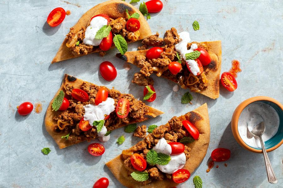 No-bake lamb flatbread with tomatoes and sumac yogurt