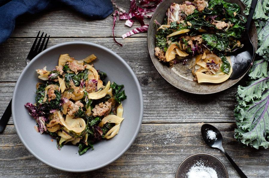 Sweet Italian sausage with kale and radicchio