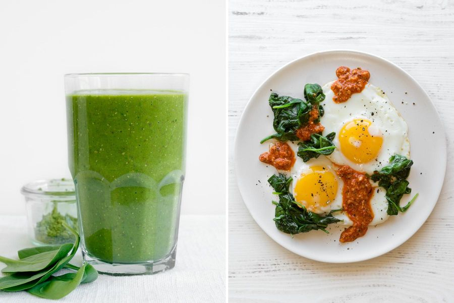 Mango-matcha smoothies & Fried eggs with spinach and romesco