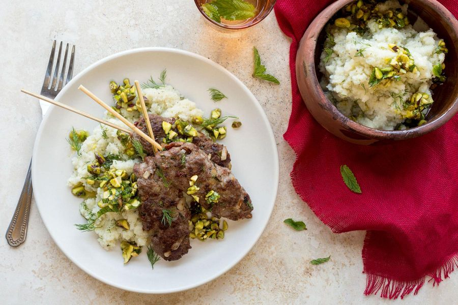 Mediterranean beef kebabs with pistachio relish and cauliflower mash