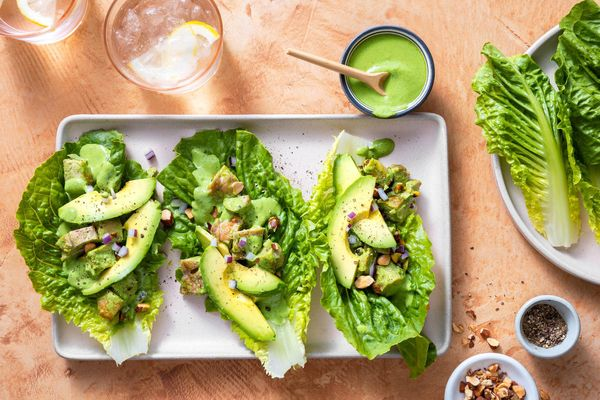 Green goddess chicken salad lettuce cups with roasted almonds