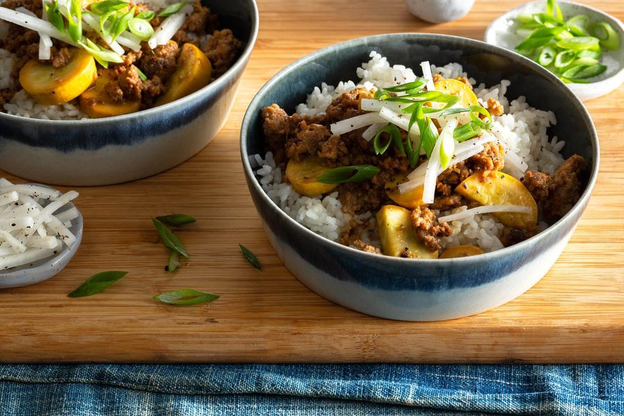 Miso-ginger ground pork and summer squash donburi