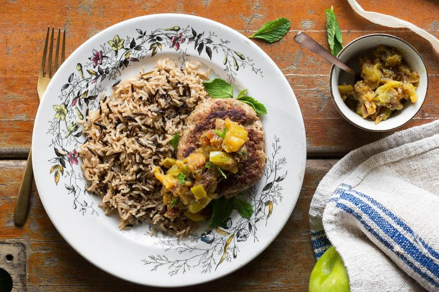 Turkey-zucchini burgers with apple-date chutney and rice pilaf