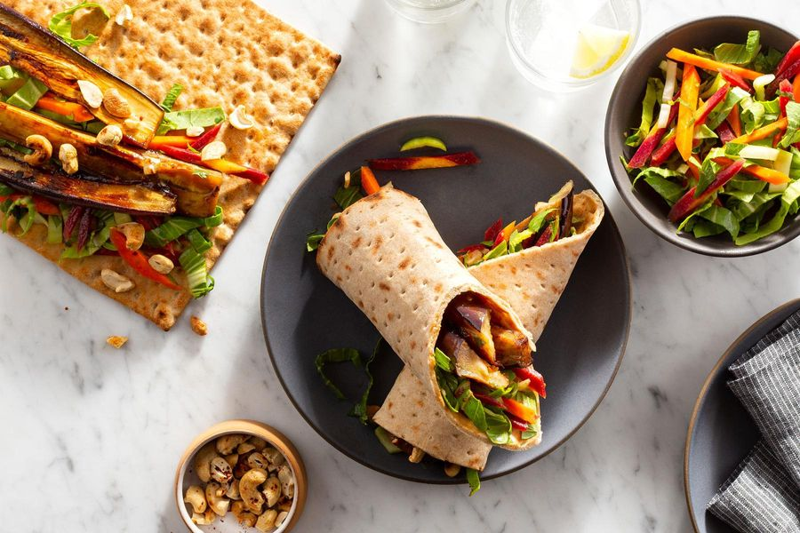Sweet and sour eggplant wraps with spiced cashews and bok choy slaw