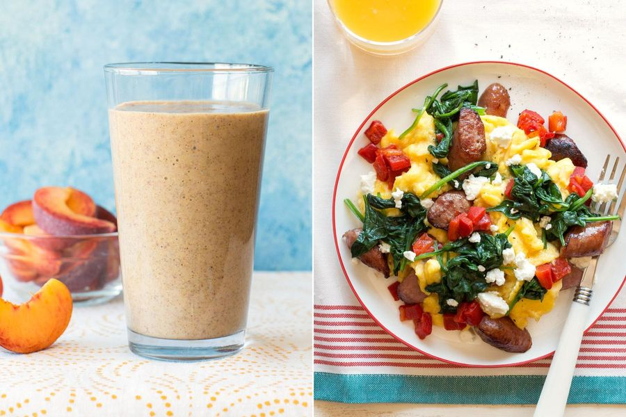 Peach-coconut smoothies & Sausage-spinach scramble