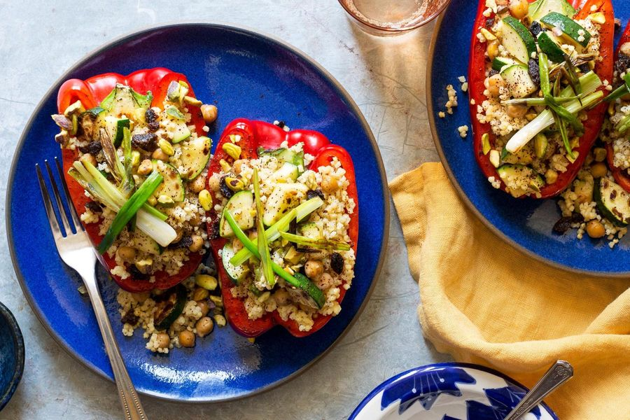 Mediterranean stuffed peppers with chickpeas, millet, and pistachios