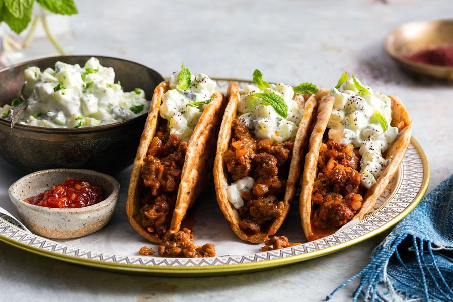 Lamb lavash tacos with ras el hanout and tzatziki